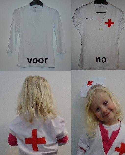 DIY recycleren en verkleden: kostuum gemaakt voor mijn kleine dokteres; gerecycleerd van oudere longsleeve (diadeem beplakt met papier en kartonnetje)
