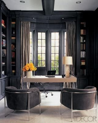 Dark library walls in office, enclosed bookshelves, bay window, modern desk and chairs, contemporary eclectic interior design {Dark and Lovely | HighStreet Culture} Emily