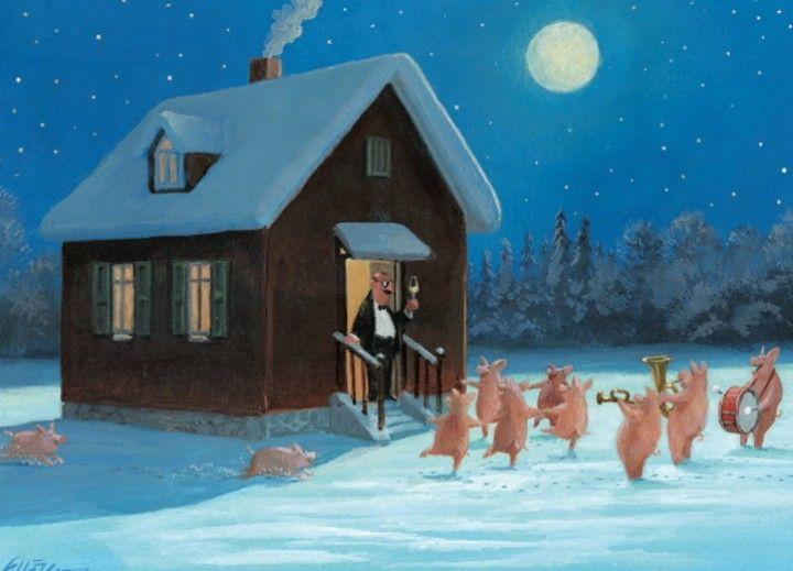Silvesterempfang: Illustration by Gerhard Glück (11,5 x 17 cm Klappkarte mit Umschlag, €2.20) #illustration #Gerhard_Glueck #New_Year #swine