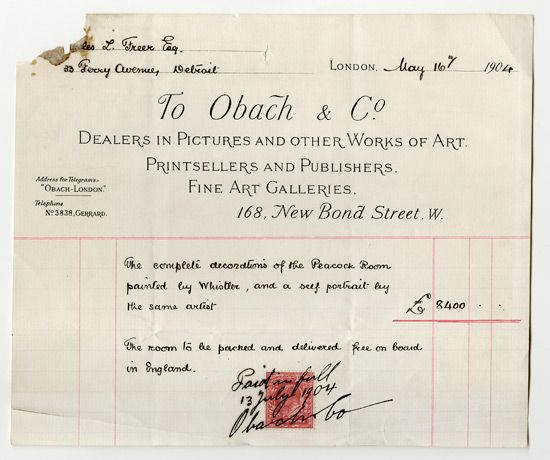 Invoice from Obach and Company to Charles Lang Freer, May 16, 1904 for the purchase of the Peacock Room. http://peacockroom.wayne.edu/history-detroit  FSA A.01 12.2