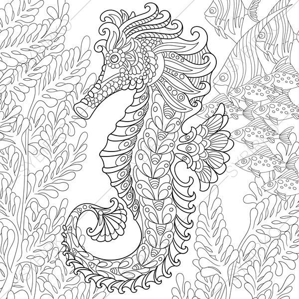 Seahorse Adult Coloring Page. Zentangle Doodle Coloring Pages
