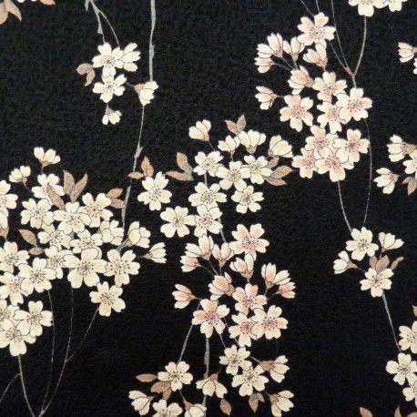 Tissu noir gaufré motifs de petites fleurs de cerisier                                                                                                                                                                                 Plus