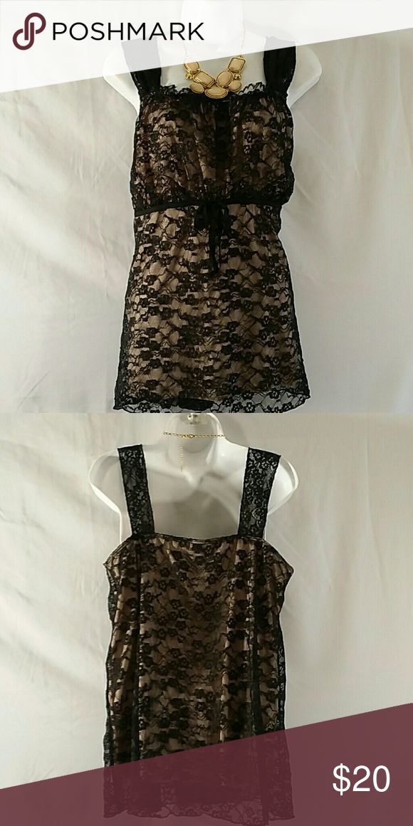 NWOT * Tunic Tank Top * Plus Size Beautiful * Black/Cream * Sleeveless * Lace w/Cream underlay * Polyester Spandex * Bundle and Save Venezia Tops