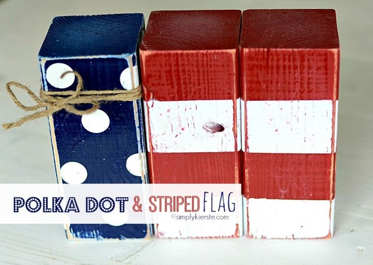 This darling Polka Dot and Striped Flag is made from 4xx4 posts! It's a super easy and inexpensive way to add to your patriotic decor! #simplykierste #4thofjulydecor #4x4posts #flag