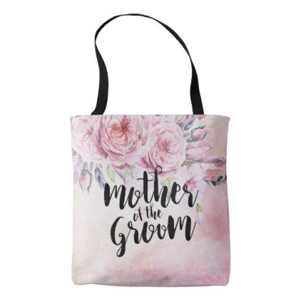 Wedding Mother of the Groom Boho Watercolor Floral Tote Bag - bridal shower gifts ideas wedding bride