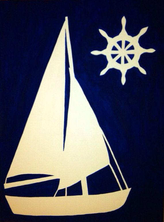 """Nautical Silhouette Painting, Acrylic on Canvas, 12"""" x 16"""", Custom Made, Various Colors & Sizes Available on Etsy, $60.00"""