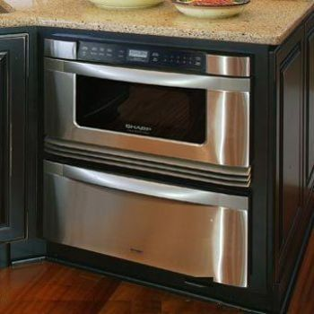 Sharp drawer microwave and warming drawer for island