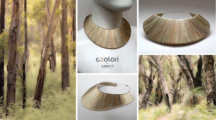 Statement yarn wrapped neckpiece from, Czolori Geom collection, colors inspired by nature www.czolori.com