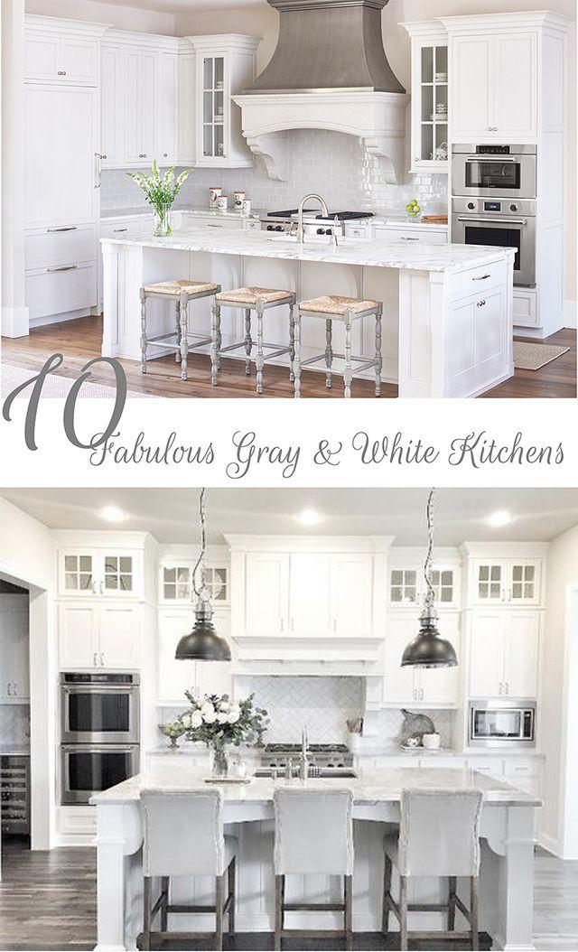 10 Fabulous Gray and White Kitchens