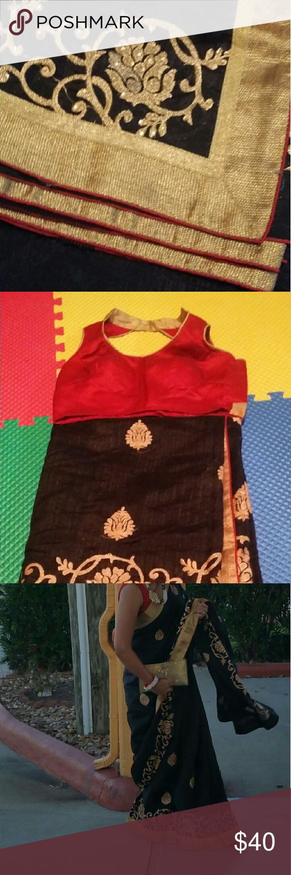 """Silk sari Black with gold border and red  blouse .1 time wear no damage. Dry clean already.30""""wide Other"""