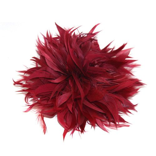 Burgundy Fascinator feather brooch by RepublicofPigtails on Etsy