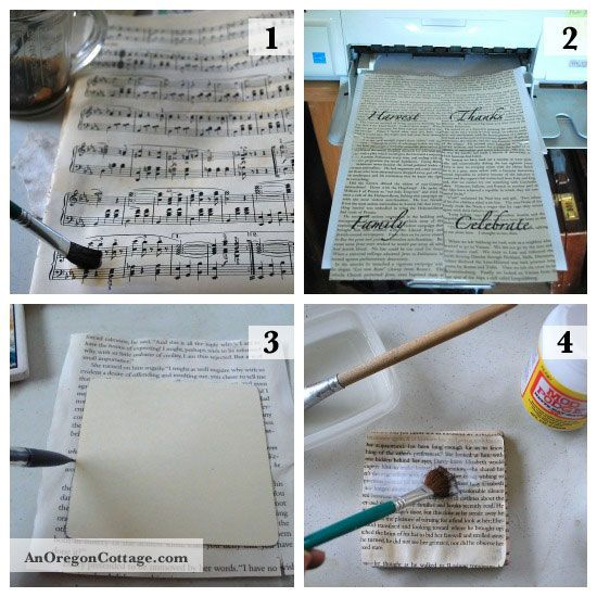 decoupaged coasters with sheet music. Also tells you how to tea stain paper. I have tons of sheet music :)