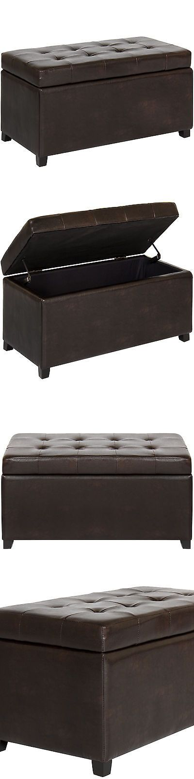 Ottomans Footstools and Poufs 20490: Best Choice Products Home Folding Leather Storage Ottoman Bench Footrest- Brown -> BUY IT NOW ONLY: $64.95 on eBay!