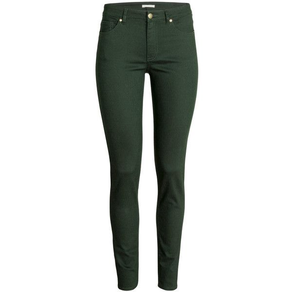 H&M Superstretch trousers (83 AED) ❤ liked on Polyvore featuring pants, jeans, dark green, slim leg pants, h&m, dark green pants, h&m pants and five pocket pants