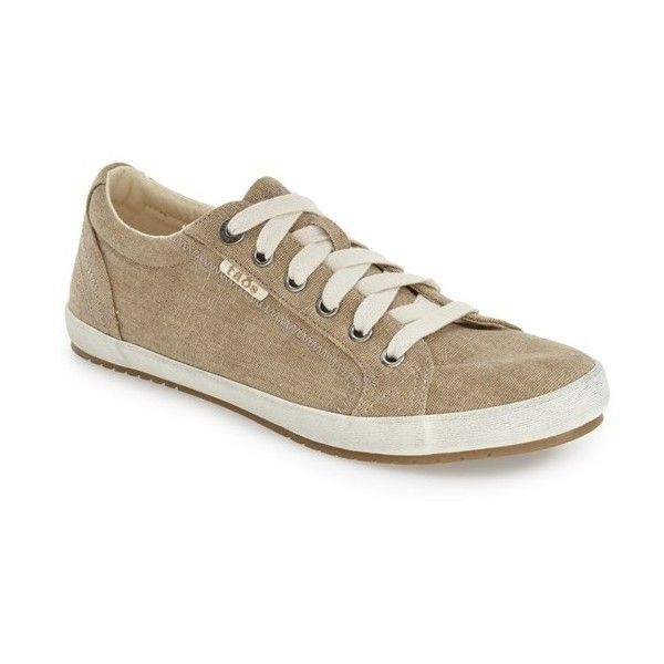 Women's Taos 'star' Sneaker ($80) ❤ liked on Polyvore featuring shoes, sneakers, khaki washed canvas, khaki sneakers, star sneakers, canvas sneakers, lightweight sneakers and low top canvas sneakers