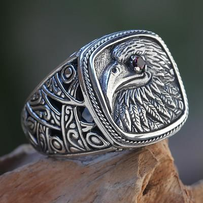 Garnet signet ring, 'Java Eagle' - Eagle Theme Handcrafted Sterling Silver and Garnet Ring
