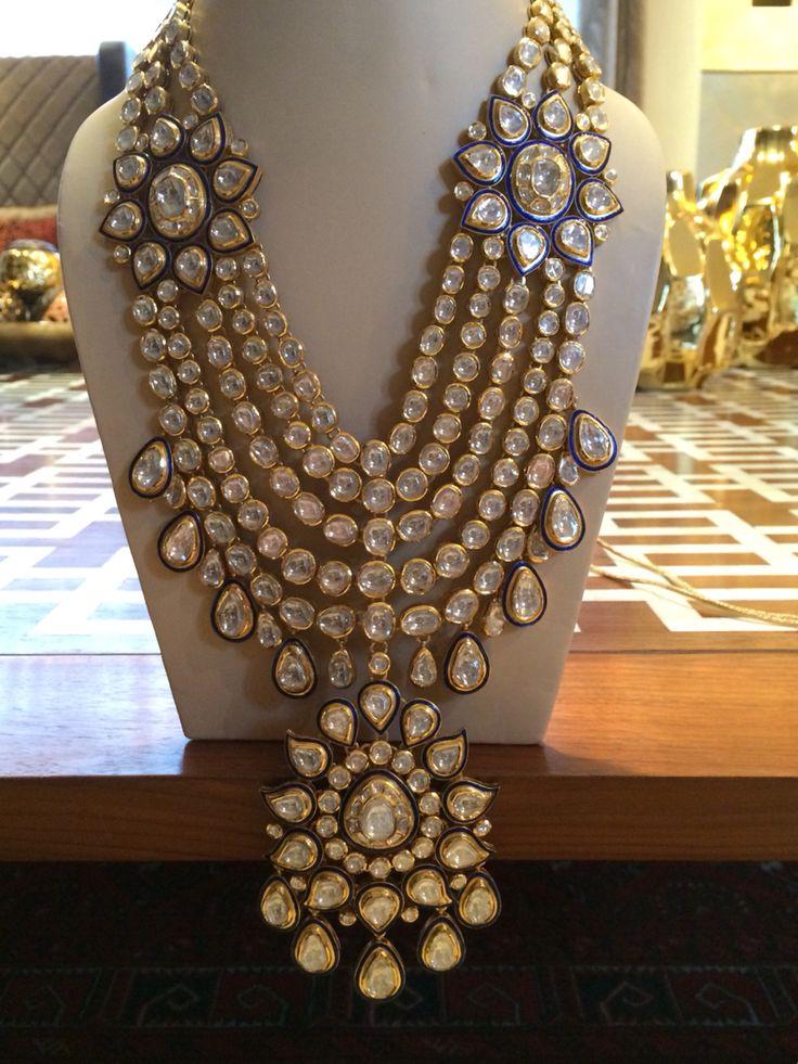 Polki bridal set. Uncut diamonds in hall mark gold. Indian wedding jewelry