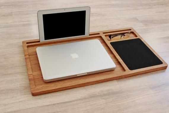 Lap Desk Oak Wood Laptop Stand Portable Laptop Desk With Slots For Mac And Iphone Mobile Workstation Wooden Computer Stand Laptop Tray Gift Portable Laptop Desk Lap Desk Laptop Stand