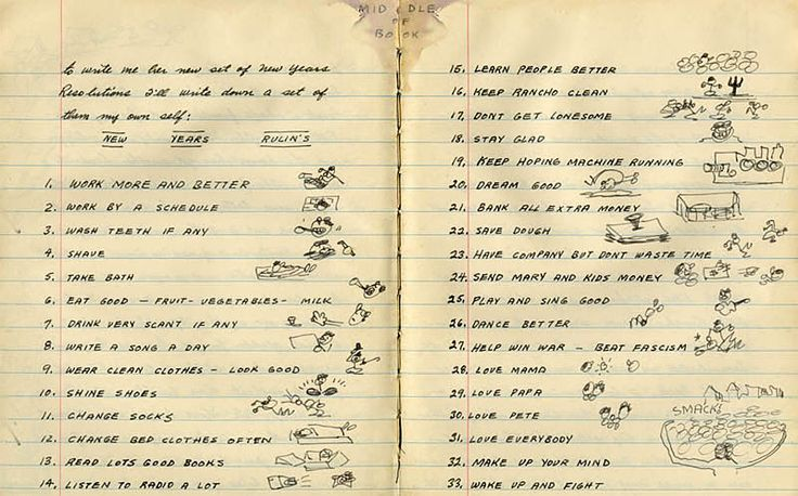 Woody Guthrie's New Year's Resolution List, 1942