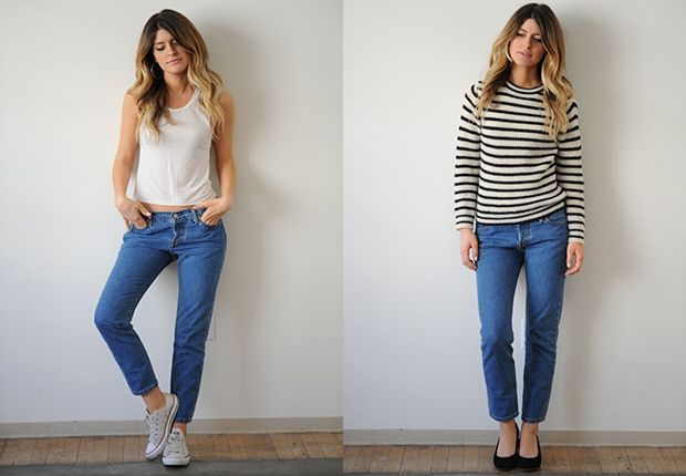 Left, with flat Converse sneakers; right, with mid-height pumps