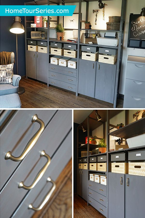 The IKEA IVAR system is a great storage solution for a small space. It was selected by the IKEA Home Tour Squad for this this man cave makeover, because it is easily customizable. The unfinished wood is easy to stain or paint the color of your choice.