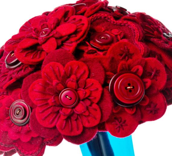 Red Felt Flower Button Bouquet by CharlieLaurieDesigns on Etsy, £49.00