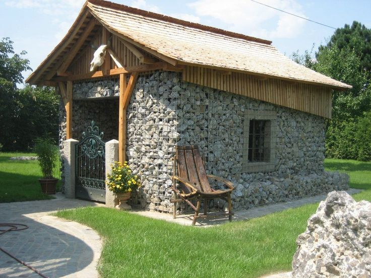 83 best gabion structures images on pinterest - Building river stone walls with mortar sobriety and elegance ...