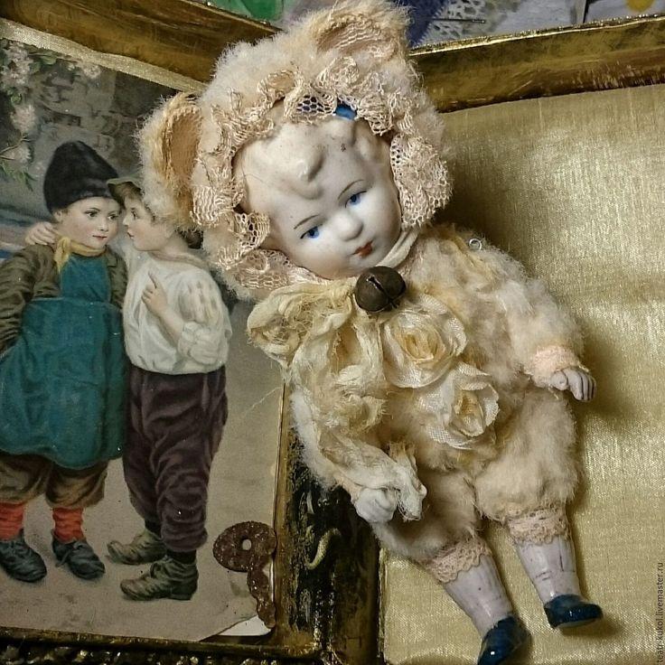 Купить Тедди долл из антикварных деталей - бежевый, антикварная кукла, антикварная куколка, куколка, тедди
