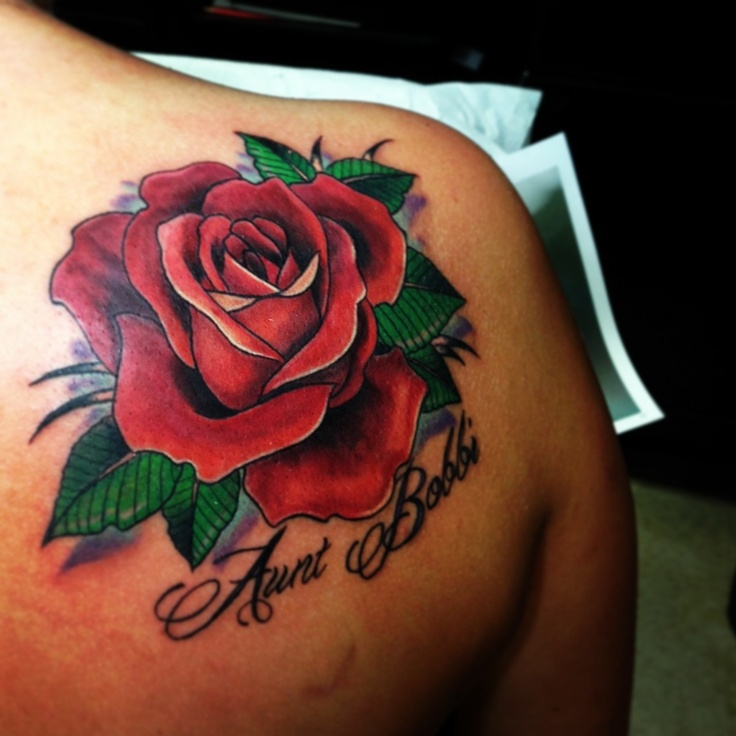 Rose tattoo in memory of my aunt