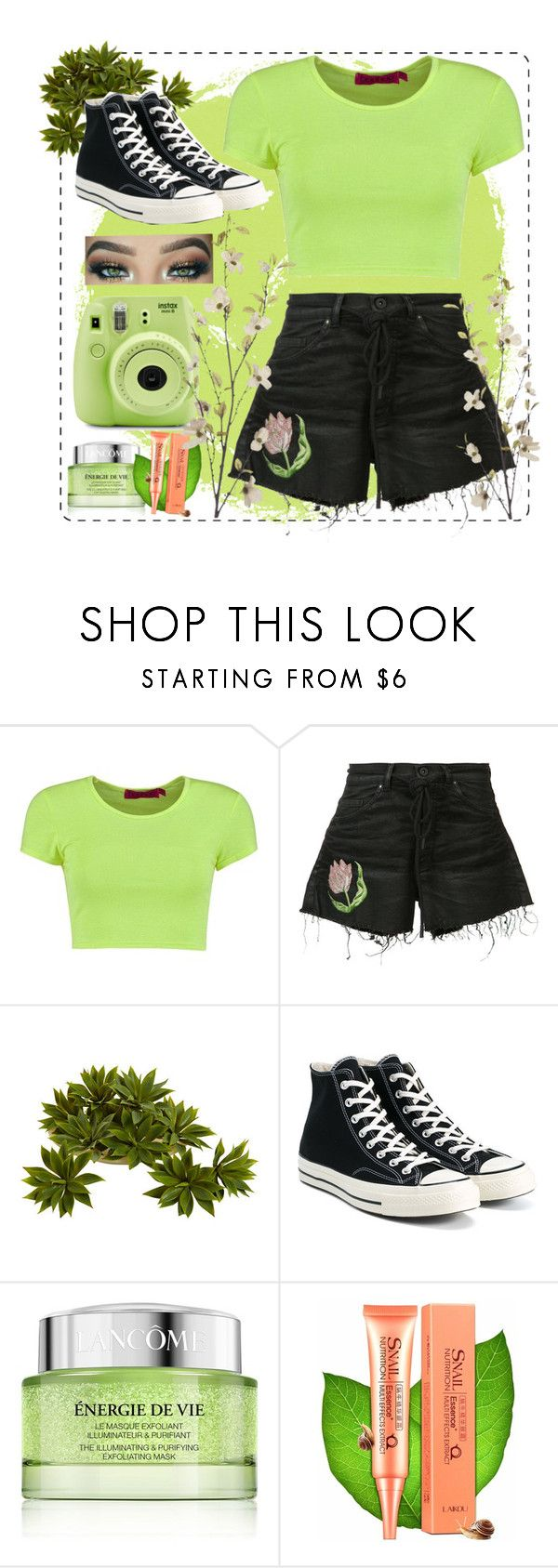 """""""#34"""" by silkeproumen ❤ liked on Polyvore featuring Boohoo, Off-White, Converse, Lancôme, Pier 1 Imports, Fujifilm, croptop, GREEN, Flowers and converse"""