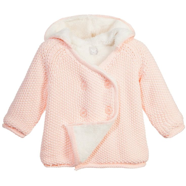 The Little Tailor baby pale pink pram coat made from a knitted cotton with soft plush lining. In a double breasted style and with a hood this is a perfect coat for keeping baby snug and cosy on colder days. It can be layered on top of sweaters as well as being used as an everyday warm cardigan.