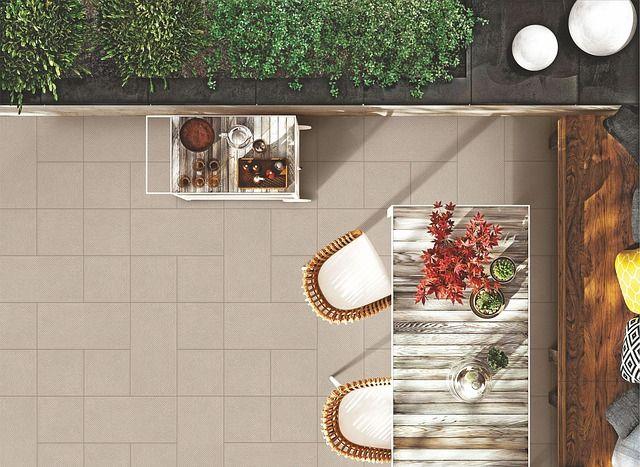 Aménagement d'une terrasse vue du dessus.