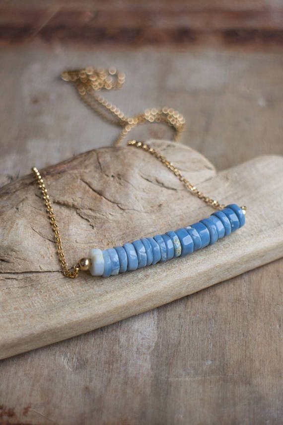 Collar de ópalo azul Ombre octubre Birthstone dril collar