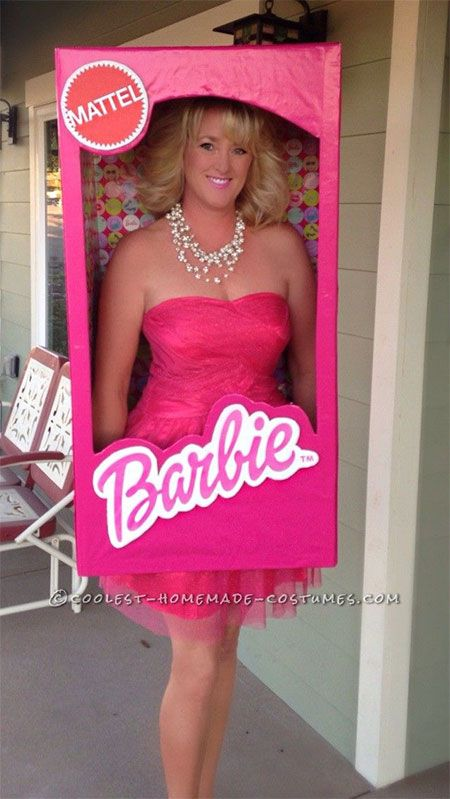 super fun barbie in a box costume for women and girls halloween costume also possible as couple costume with barbie ken - Halloween Costume Ideas For Women Cheap And Easy
