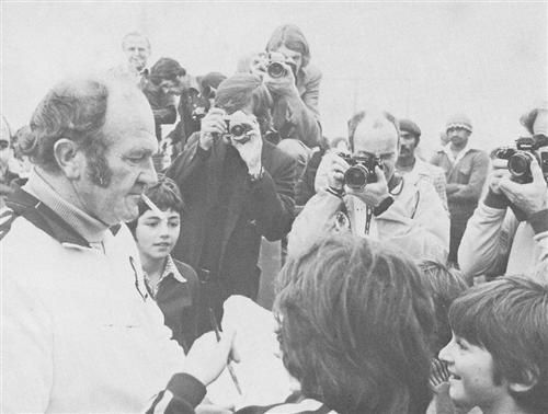 14 Sept 76 - Griqualand West 3 / All Blacks 26  All Black coach signing autographs for young fans. JJ Steward took serious offense when one of the coloureds were thrown to the ground by one of the hotel managers in the foyer of the hotel in which they stayed in Kimberley.