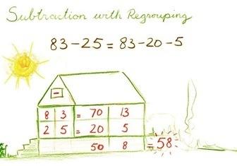 Waldorf ~ 3rd grade ~ Math ~ Vertical Subtraction ~ main lesson book