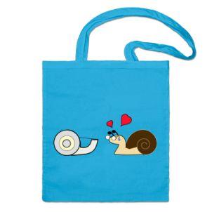 ¡Bolsa de algodón natural super resistente, perfecta para ir de compras. Color Azul eléctrico con Caracol Enamorado! 18,95€ Iva Incluido. Más Colores. http://www.shirtcity.es/blind-love-bolso-de-yute-45064