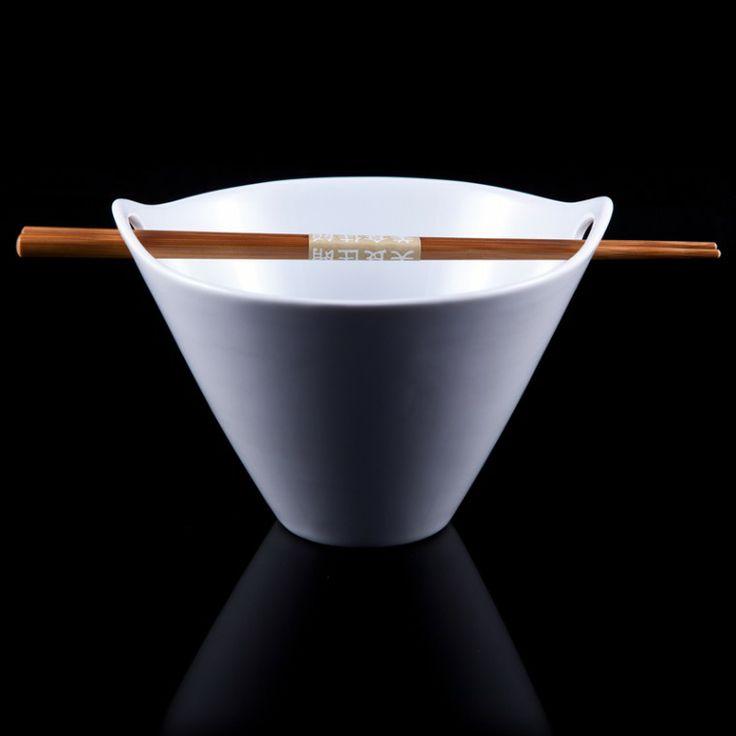 Noodle Bowl With Chopsticks - Dinnerware - Dining #Sabichi #Dinnerware #white #wood #sabichistyle