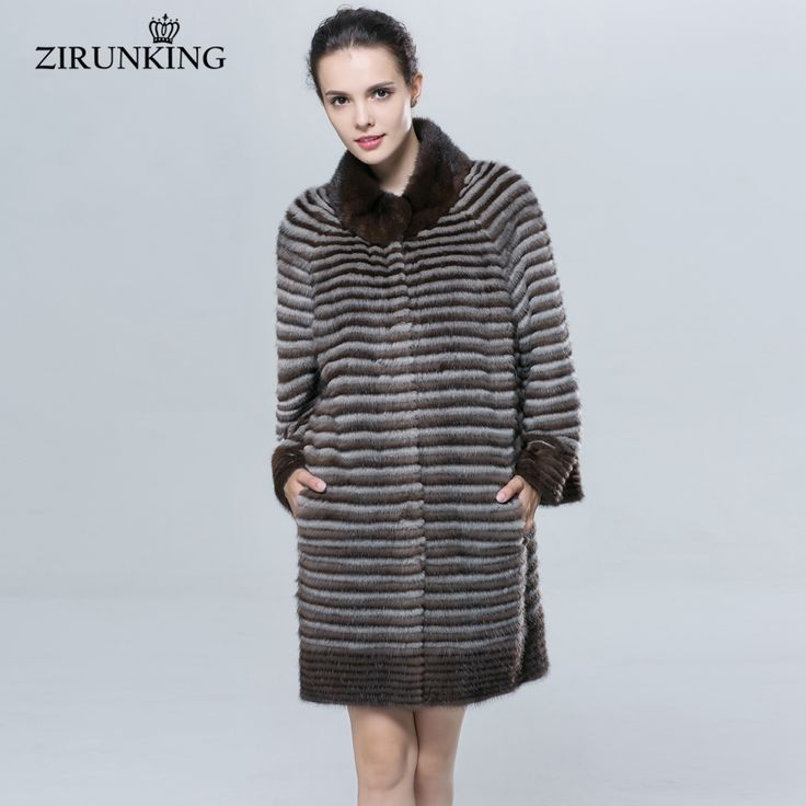 ZIRUNKING Lady Autumn  Real Mink fur coat  Medium Women's Winter Fur Overcoat Fashion Slim Shuba  ZC1619