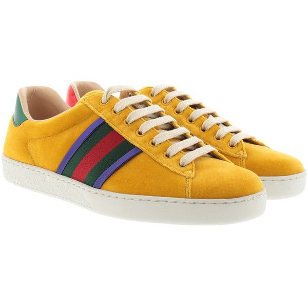 bcd78770943 Gucci Sneakers - Ace Velvet Low-Top Sneaker Yellow - in yellow ...