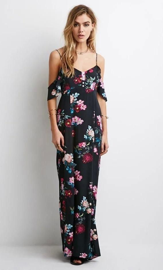 18a7a9076368b Vintage Floral Print Halter V neck Lace Up Maxi Dress in 2019 ...