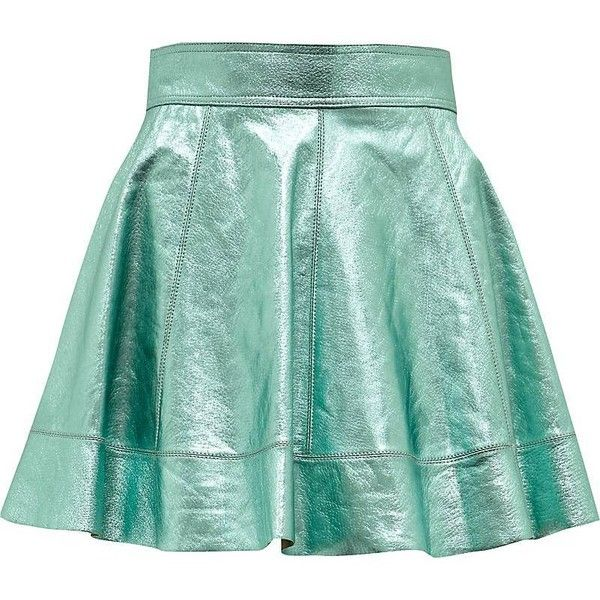 blue metallic leather circle skirt (2 665 UAH) ❤ liked on Polyvore featuring skirts, bottoms, saias, blue, blue metallic skirt, metallic skirt, green skater skirt, flared skirt and blue skirt