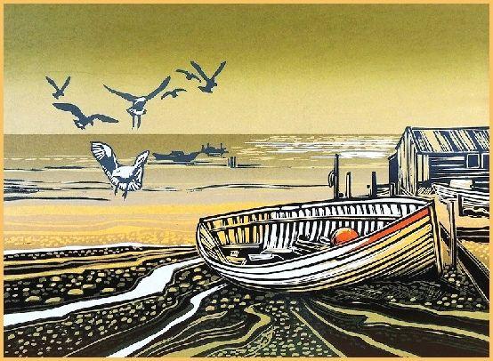 """Sealgulls landing"" Rob Barnes, Artist printmaker, Norfolk"