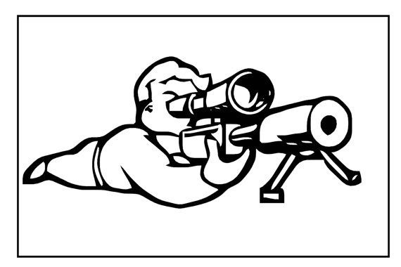 Fallout sticker, Funny Vault Boy decal, Fallout perks decal, Pip Boy sticker, Fallout New Vegas perk TNT, wasteland gamer sticker, Vault Boy with Sniper Rifle.  Printed in ...