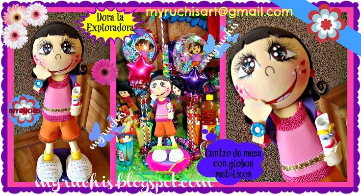 Centros de Mesa Infantiles, Fiesta Dora myruchis.blogspot.com