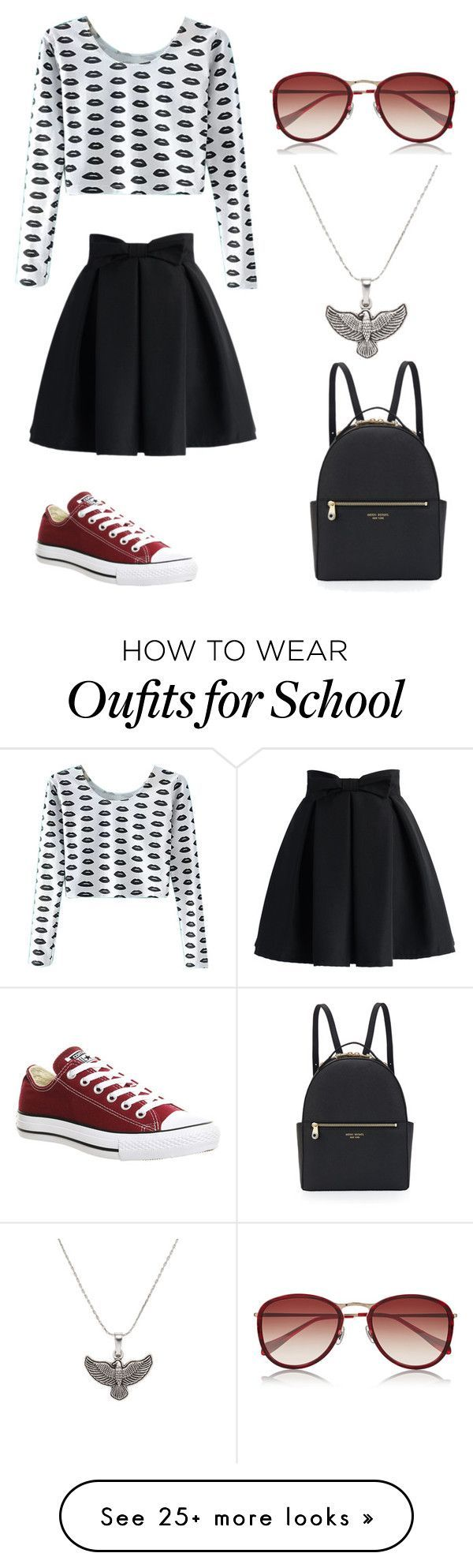 """School #3"" by penguin-alert on Polyvore featuring Chicwish, Henri Bendel, Converse, Oliver Peoples and Alex and Ani"
