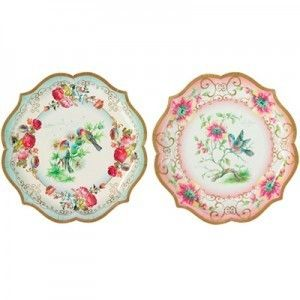 Vintage Tea Party Paper Serving Plates, Party Paper Plates, Paper Party Plates,