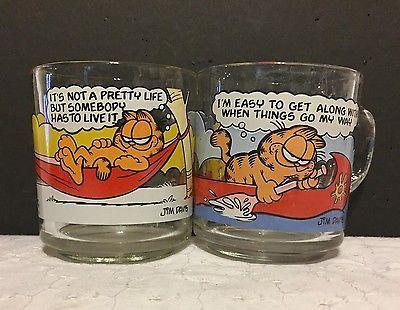 2 Vtg Garfield McDonald Glass Mugs Jim Davis 1978 Odie Anchor Hocking