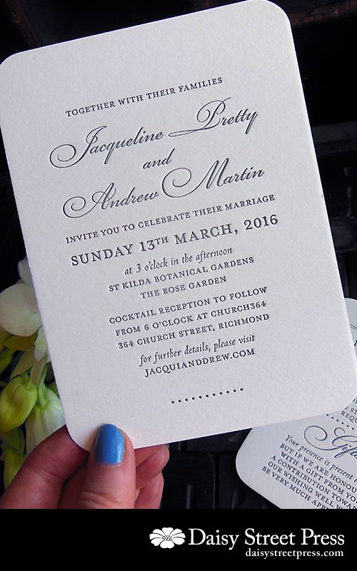 Black Tie beauty in this Black Tuxedo design. Medium sized invitation with classic black ink on Bright White paper with rounded corners.