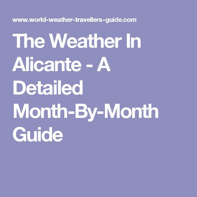 The Weather In Alicante - A Detailed Month-By-Month Guide